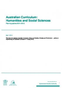 Australian Curriculum: Humanities and Social Sciences