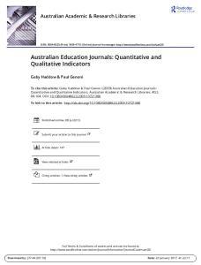 Australian Education Journals: Quantitative and Qualitative Indicators