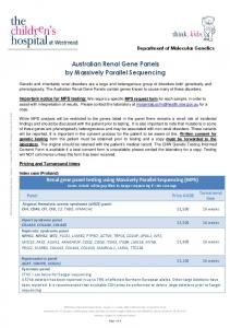 Australian Renal Gene Panels by Massively Parallel Sequencing