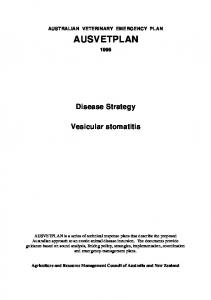 AUSTRALIAN VETERINARY EMERGENCY PLAN AUSVETPLAN. Disease Strategy. Vesicular stomatitis