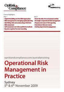 australiatraining Operational Risk Management in Practice