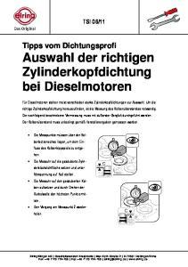 Auswahl der richtigen Zylinderkopfdichtung bei Dieselmotoren