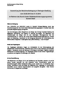Auswertung der Bewohnerbefragung in Kitzingen-Siedlung. vom bis