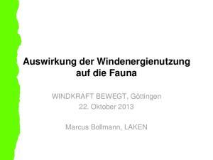 Auswirkung der Windenergienutzung auf die Fauna