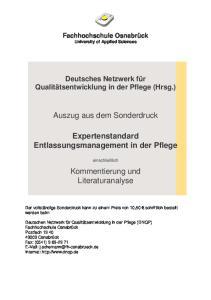 Auszug aus dem Sonderdruck. Expertenstandard Entlassungsmanagement in der Pflege. Kommentierung und Literaturanalyse