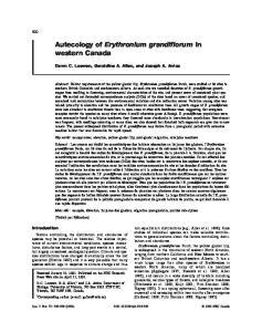 Autecology of Erythronium grandiflorum in western Canada