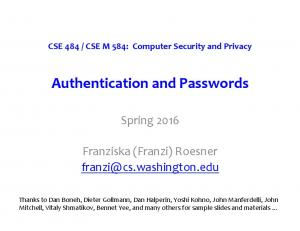 Authentication and Passwords