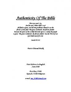 Authenticity Of The Bible