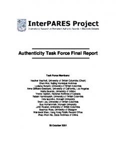 Authenticity Task Force Final Report