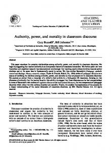 Authority, power, and morality in classroom discourse