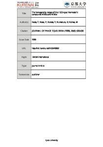 Author(s) Ikeda, T; Nose, Y; Korata, T; Numak. Citation JOURNAL OF PHASE EQUILIBRIA (1999),