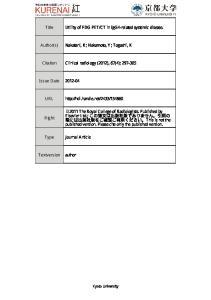 Author(s) Nakatani, K; Nakamoto, Y; Togashi, Citation Clinical radiology (2012), 67(4): 2