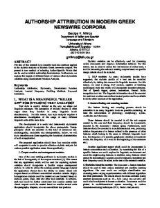 AUTHORSHIP ATTRIBUTION IN MODERN GREEK NEWSWIRE CORPORA