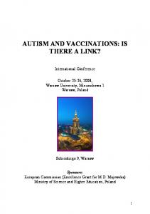 AUTISM AND VACCINATIONS: IS THERE A LINK?