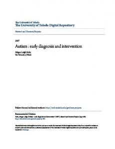 Autism : early diagnosis and intervention