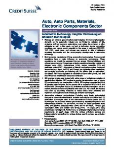 Auto, Auto Parts, Materials, Electronic Components Sector