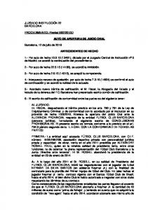 AUTO DE APERTURA DE JUICIO ORAL ANTECEDENTES DE HECHO