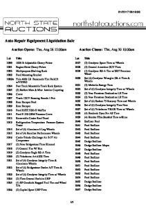 Auto Repair Equipment Liquidation Sale