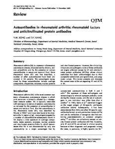 Autoantibodies in rheumatoid arthritis: rheumatoid factors and anticitrullinated protein antibodies
