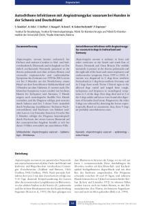 Autochthone Infektionen mit Angiostrongylus vasorum bei Hunden in der Schweiz und Deutschland