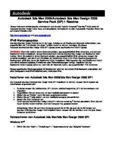 Autodesk 3ds Max Design 2009 Service Pack (SP) 1 Readme