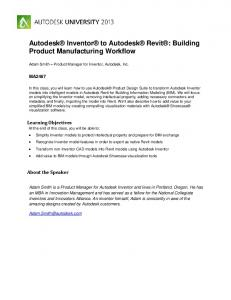 Autodesk Inventor to Autodesk Revit : Building Product Manufacturing Workflow