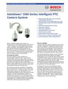 AutoDome 500i Series Intelligent PTZ Camera System
