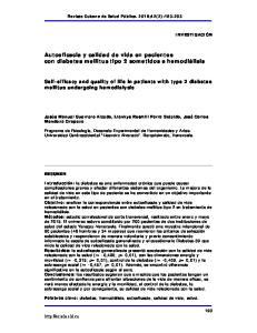 Autoeficacia y calidad de vida en pacientes con diabetes mellitus tipo 2 sometidos a hemodiálisis