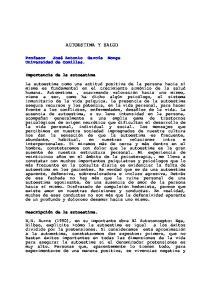 AUTOESTIMA Y SALUD. Universidad de Comillas. Importancia de la autoestima