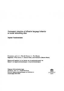 Automated detection of offensive language behavior on social networking sites