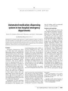 Automated medication-dispensing system in two hospital emergency departments