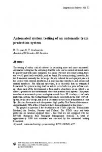 Automated system testing of an automatic train protection system