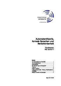 Automatentheorie, formale Sprachen und Berechenbarkeit