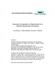 Automatic Computation of Sensitivities for a Parallel Aerodynamic Simulation