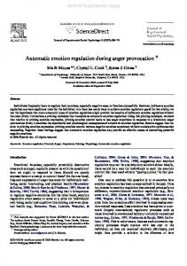 Automatic emotion regulation during anger provocation