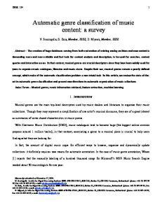 Automatic genre classification of music content: a survey