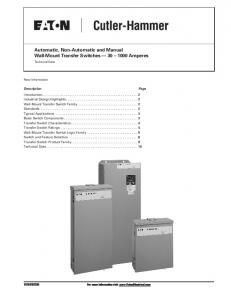 Automatic, Non-Automatic and Manual Wall-Mount Transfer Switches Amperes