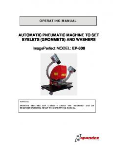 AUTOMATIC PNEUMATIC MACHINE TO SET EYELETS (GROMMETS) AND WASHERS. ImagePerfect MODEL: EP-300