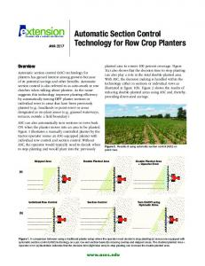 Automatic Section Control Technology for Row Crop Planters