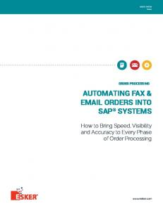 AUTOMATING FAX &  ORDERS INTO SAP SYSTEMS