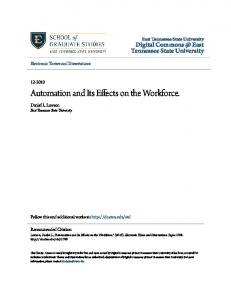 Automation and Its Effects on the Workforce