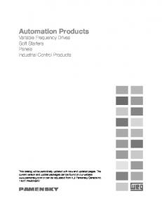 Automation Products. Variable Frequency Drives Soft Starters Panels Industrial Control Products PAMENSKY