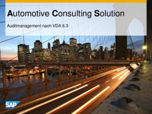 Automotive Consulting Solution. Auditmanagement nach VDA 6.3