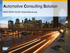Automotive Consulting Solution. BMW SPAB TACHO Versandsteuerung