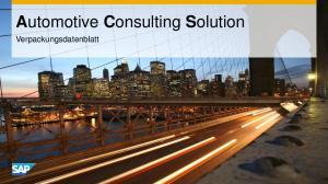 Automotive Consulting Solution. Verpackungsdatenblatt