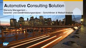 Automotive Consulting Solution. Warranty Management Garantie- und Gewährleistungsanalyse Schichtlinien & Weibull Analyse