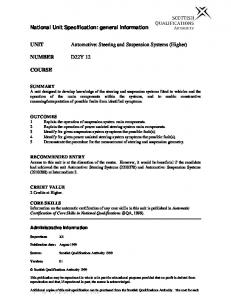 Automotive: Steering and Suspension Systems (Higher)