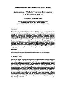 AUTONOMIC HTML INTERFACE GENERATOR FOR WEB APPLICATIONS