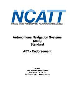 Autonomous Navigation Systems (ANS) Standard AET - Endorsement