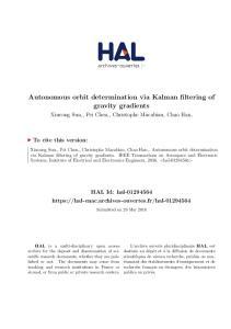 Autonomous orbit determination via Kalman filtering of gravity gradients